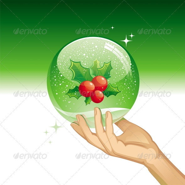Vector Snow Globe With Holly Berries - Christmas Seasons/Holidays