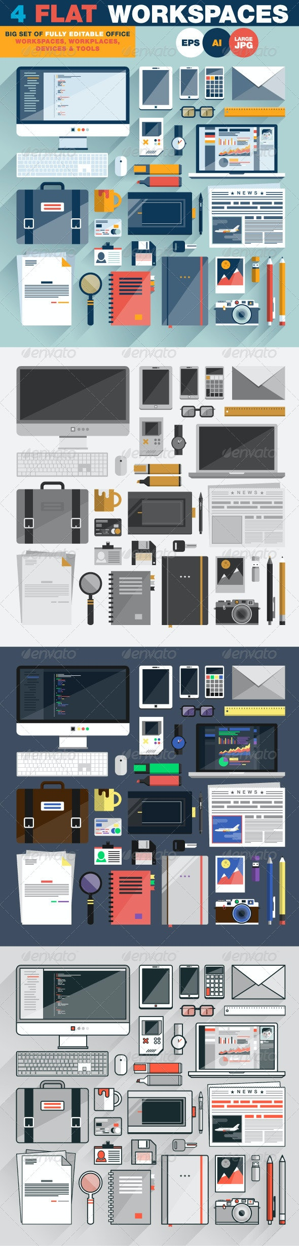 Flat Office Workspace and Workplace Top View - Objects Vectors