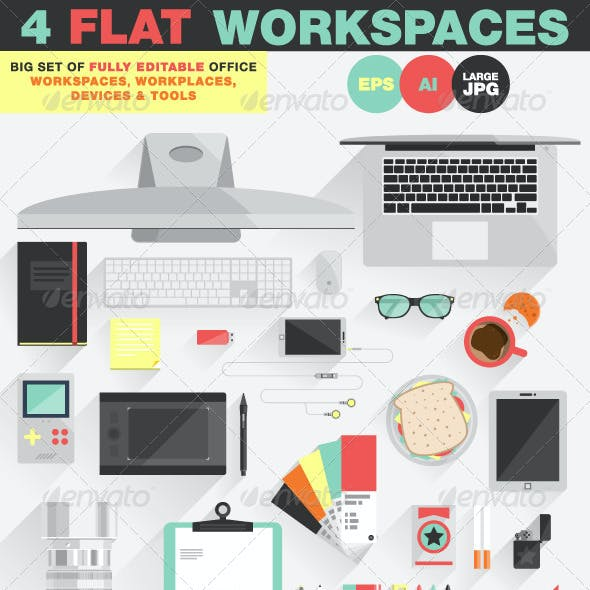 Office Workspace, Workplace Flat Design Concept
