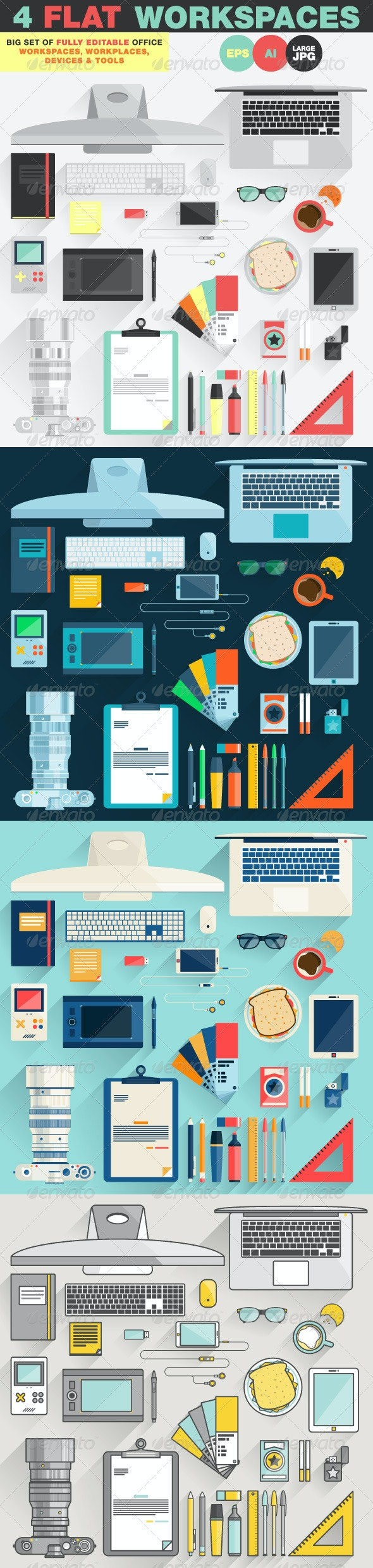Office Workspace, Workplace Flat Design Concept - Objects Vectors