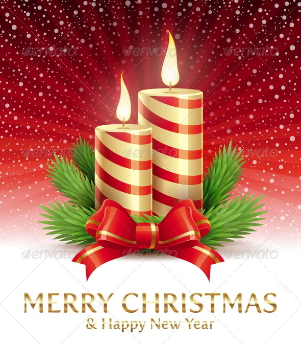Christmas Candles, Silk Bow and Spruce Branches - Christmas Seasons/Holidays