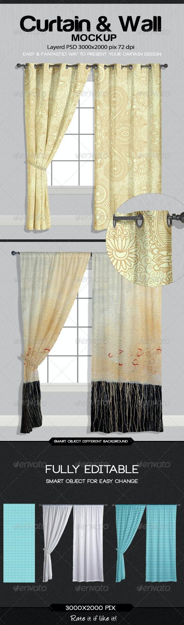 Curtain & Wall Mockup - Miscellaneous Print