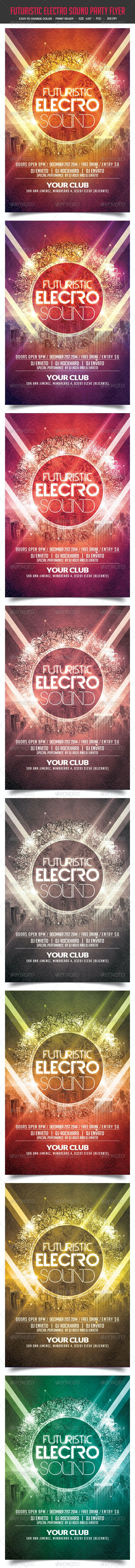 Futuristic Electro Sound Party Flyer - Clubs & Parties Events