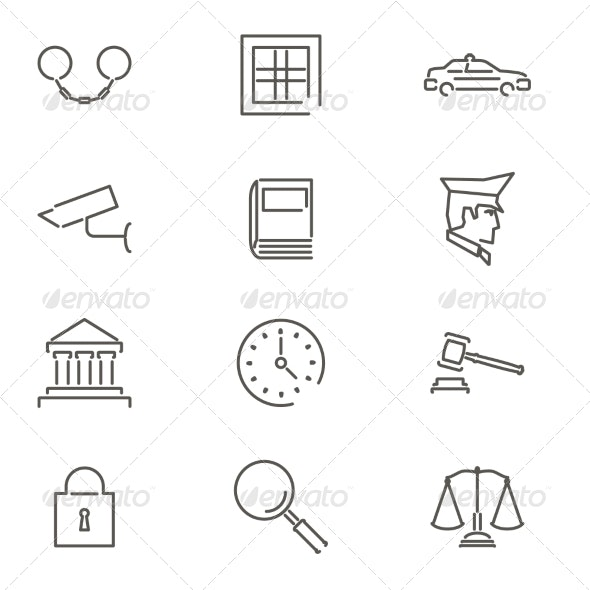 Modern Line Law Legal Justice Icons and Symbols - Miscellaneous Vectors