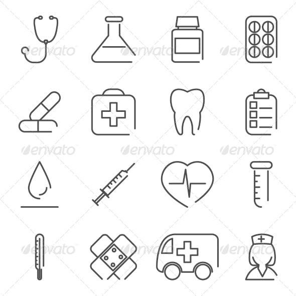 Modern Line Medical Treatment Icons and Symbols