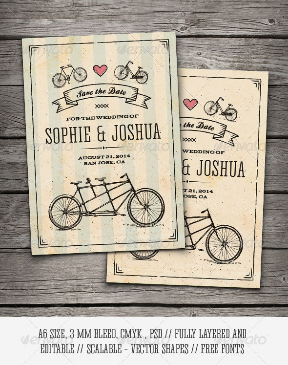 Retro Bicycles Save The Date Card - Weddings Cards & Invites