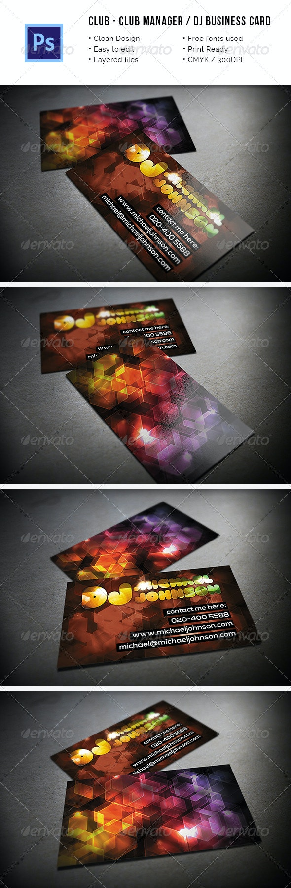 Club Manager / DJ Business Card - Business Cards Print Templates