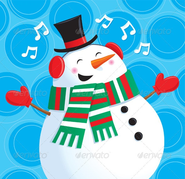 Happy Singing Snowman - Christmas Seasons/Holidays