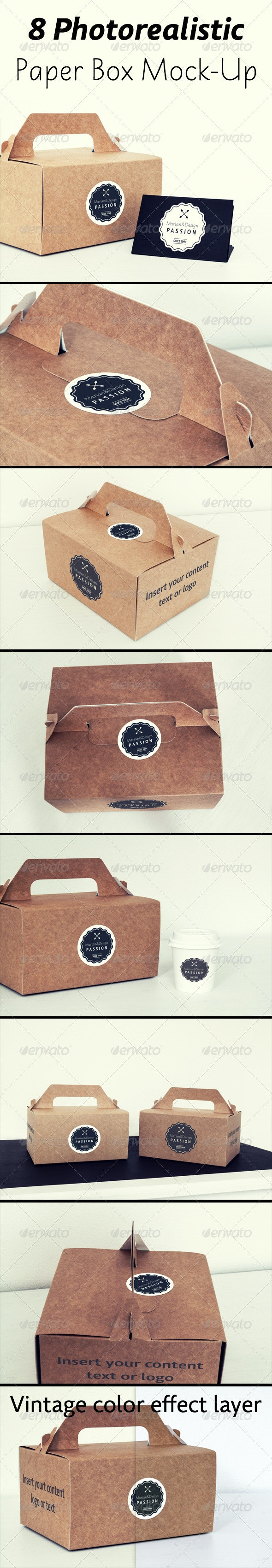 8 Photorealistic Paper Box & Logo Mock-Up - Logo Product Mock-Ups
