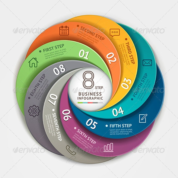 Abstract Infographic Circle Origami Style - Infographics