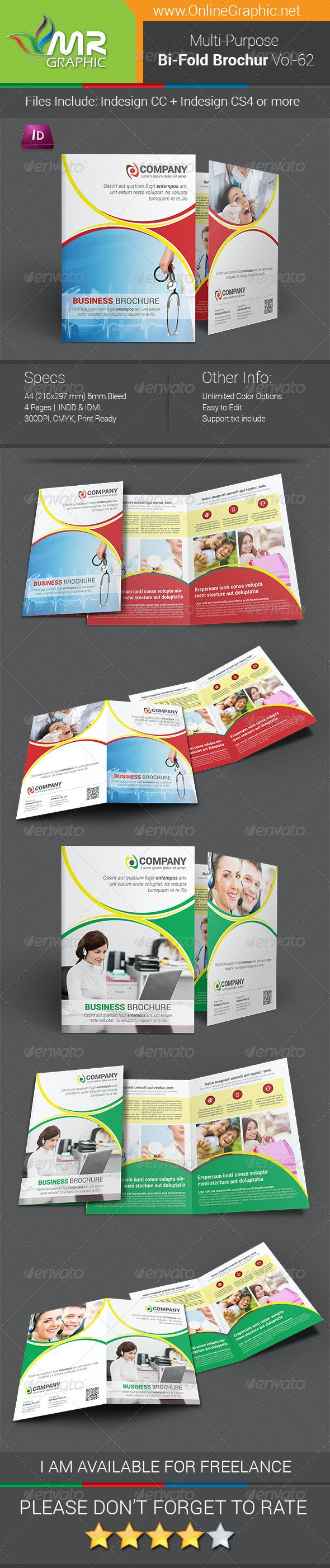 Multipurpose Bifold Brochure Template Vol-62 - Corporate Brochures