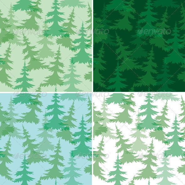 4 Seamless Patterns with Trees - Patterns Decorative