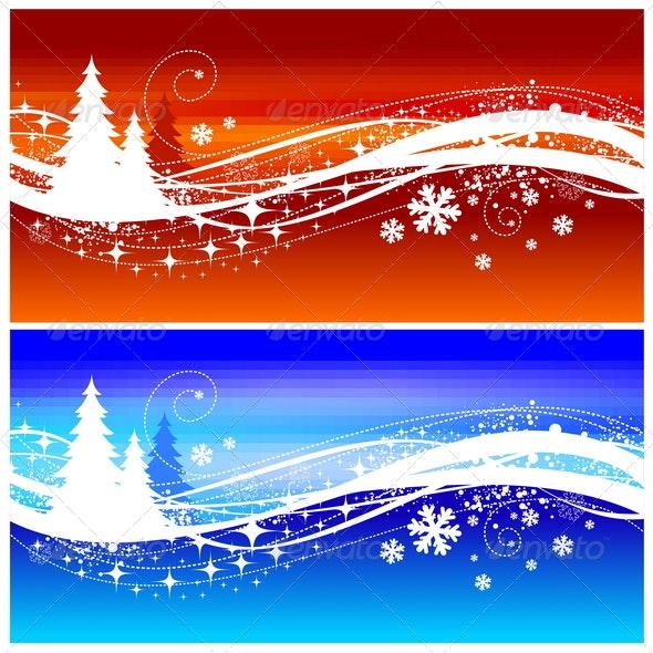 Abstract Winter Landscape With Christmas Trees - Seasons/Holidays Conceptual