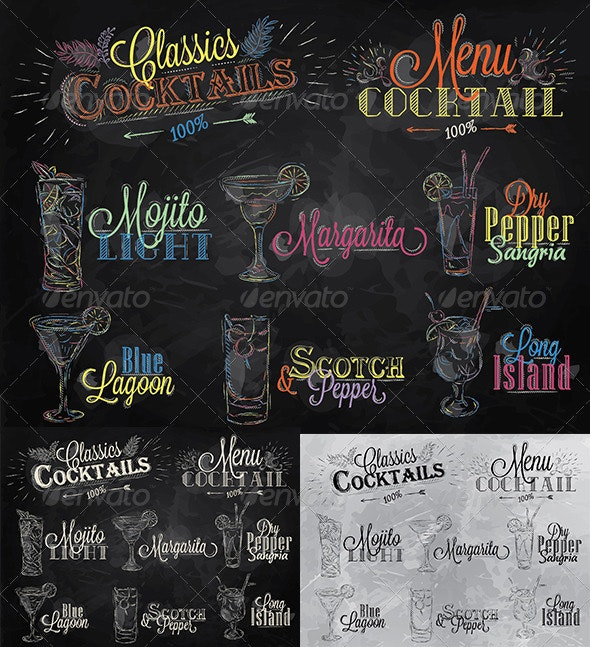 Set of Cocktail Menu in Vintage Style - Food Objects