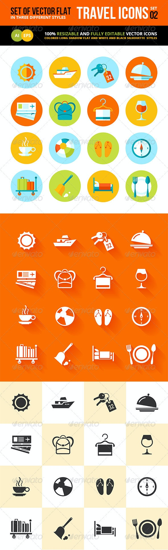 Set of Flat Vector Travel and Tourism Icons - Travel Conceptual