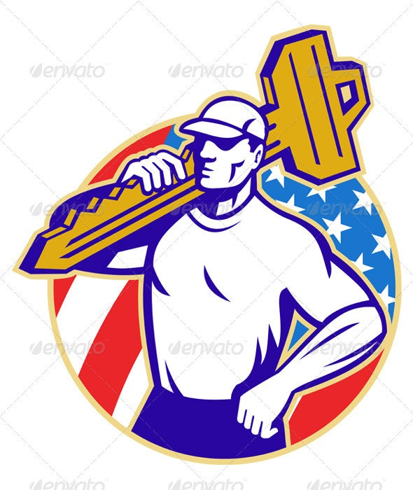 Locksmith Holding Key With American Flag - People Characters