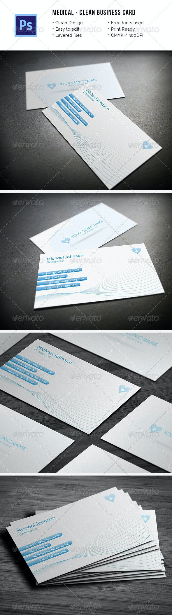Clean Medical Business Card - Industry Specific Business Cards