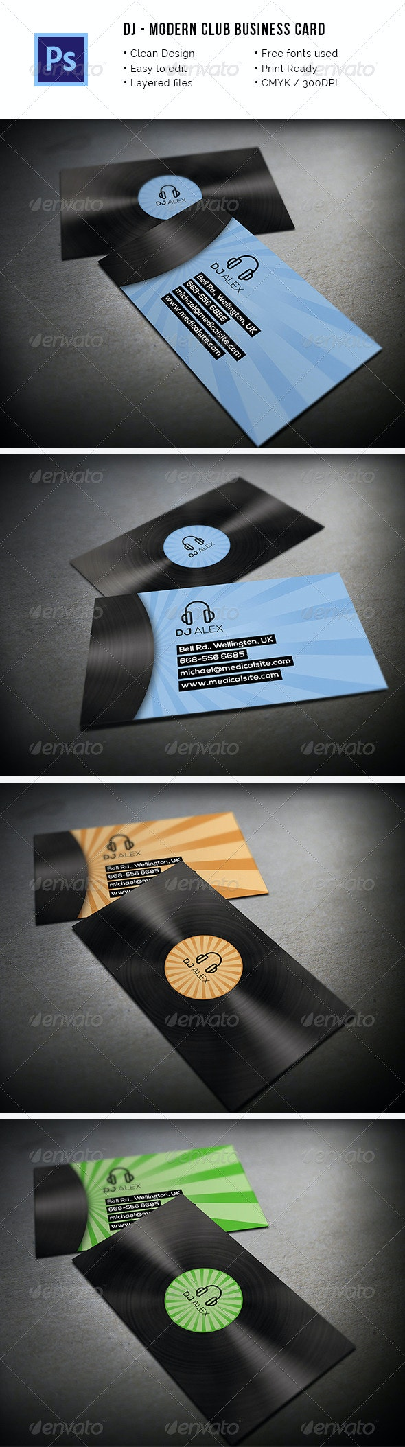 Modern DJ Business Card - Industry Specific Business Cards