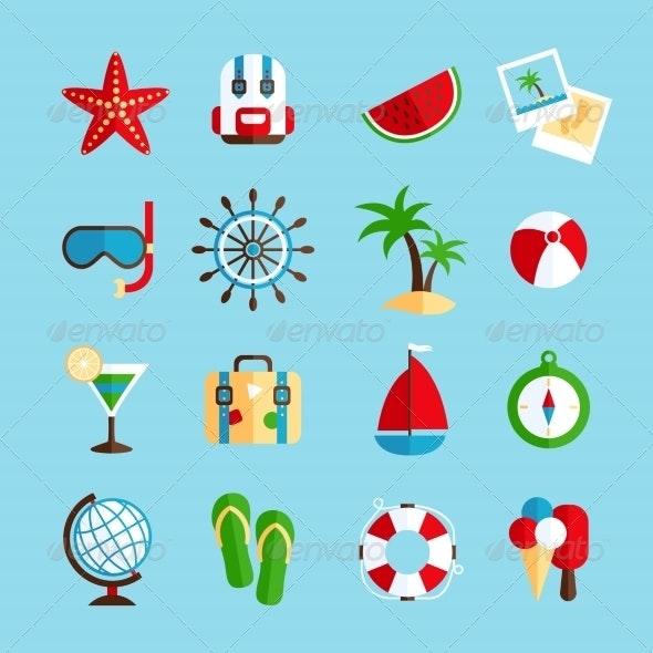 Holiday Vacation Icons Set - Travel Conceptual