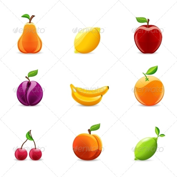 Set of Fruits Icons - Food Objects