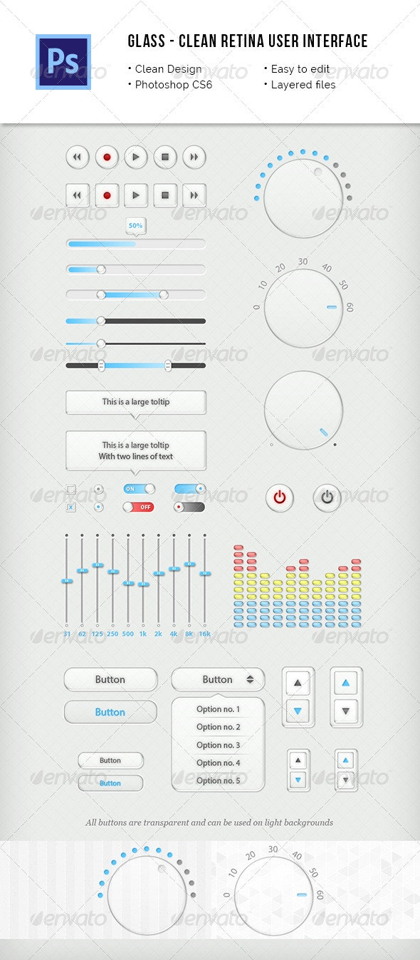 Retina Glass User Interface Kit - User Interfaces Web Elements