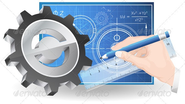Technical Drawing Abstract Illustration - Technology Conceptual