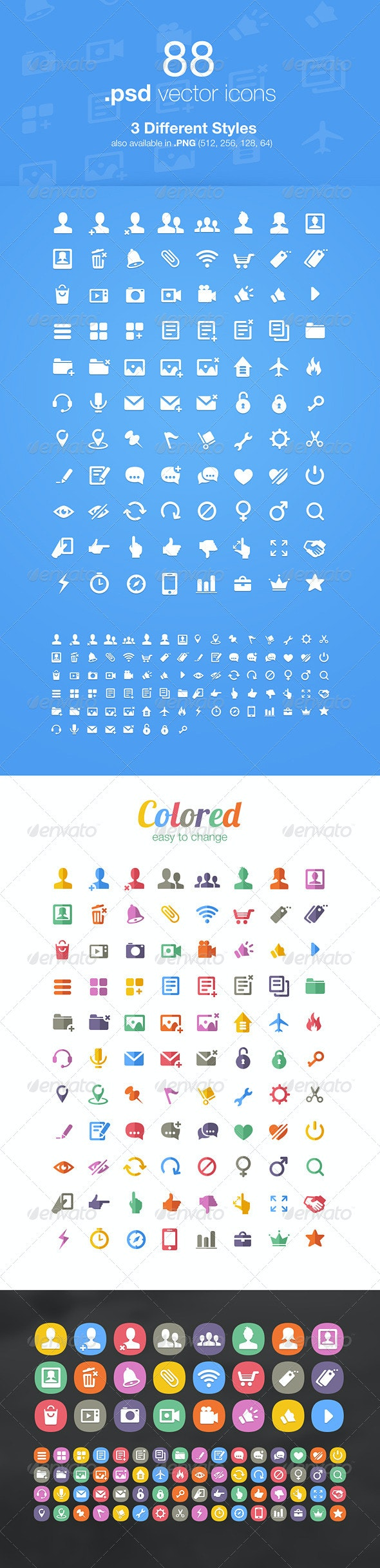 88 Modern Vector Icons - Web Icons