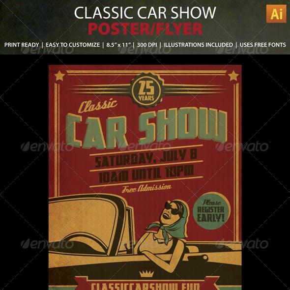 Classic Car Show Event Poster / Flyer