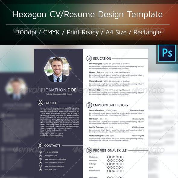 Hexagon CV/Resume Template Design