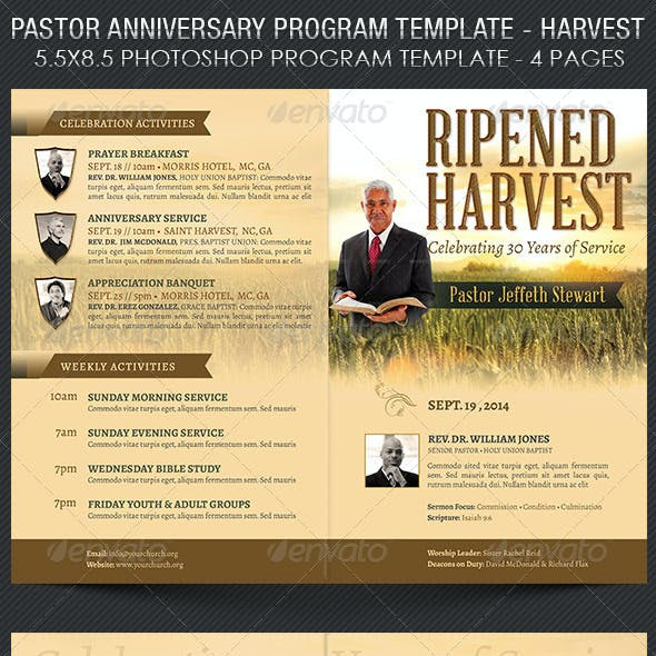 Pastor Anniversary Harvest Service Program Template
