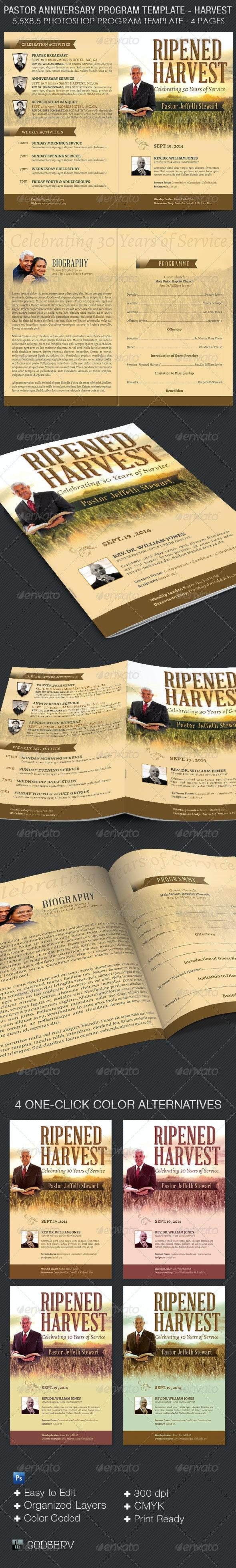 Pastor Anniversary Harvest Service Program Template  - Informational Brochures
