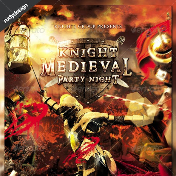 Knight Middle Ages Medieval Period Party Flyer