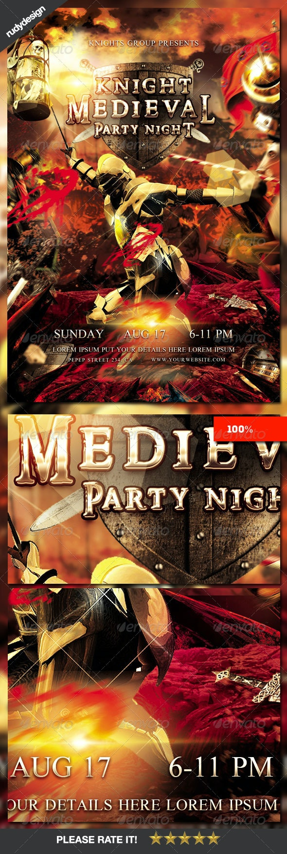 Knight Middle Ages Medieval Period Party Flyer - Events Flyers