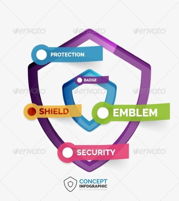 Vector Shield Icon Infographic Concept - Web Technology