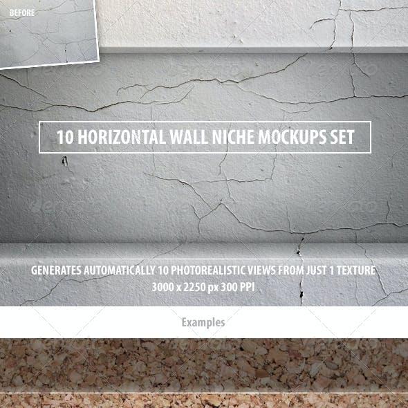 10 Horizontal Wall Niche Mockups Set