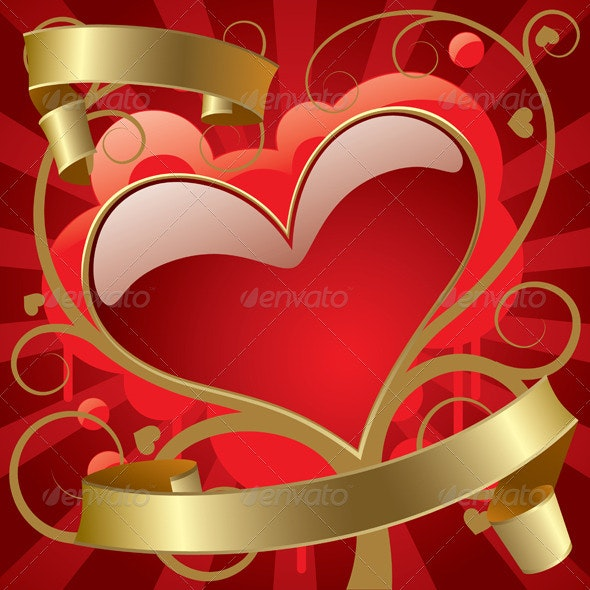 Red Heart with Gold Banners - Decorative Symbols Decorative
