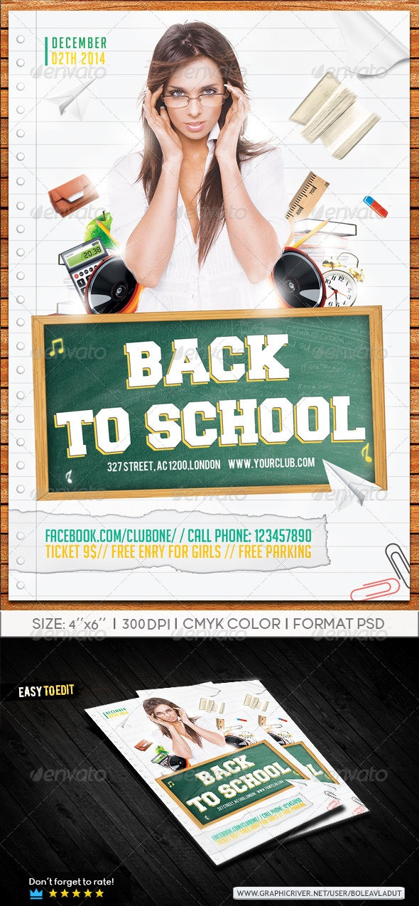 Flyer Back To School - Clubs & Parties Events