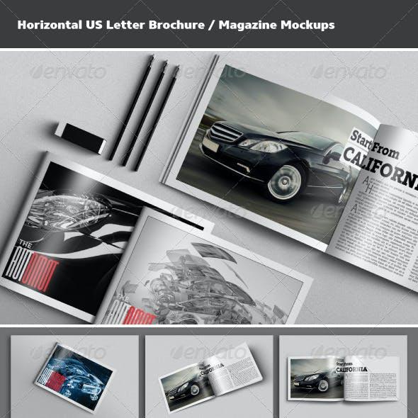 Horizontal US Letter Brochure / Magazine Mockups