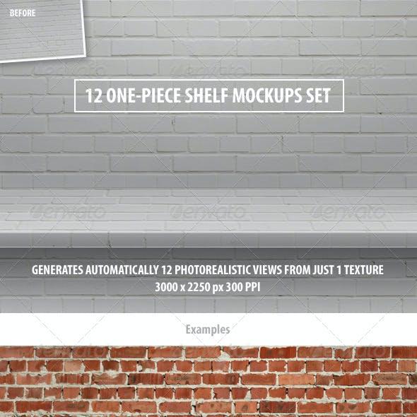 12 One-Piece Shelf Mockups Set