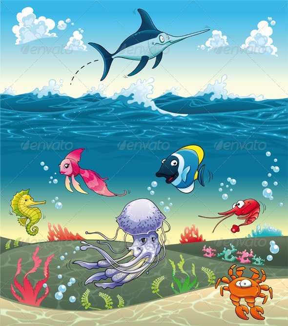 Under the Sea With Fish and Other Animals - Animals Characters