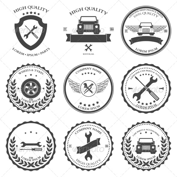 Car Service Auto Parts and Tools Icons - Industries Business