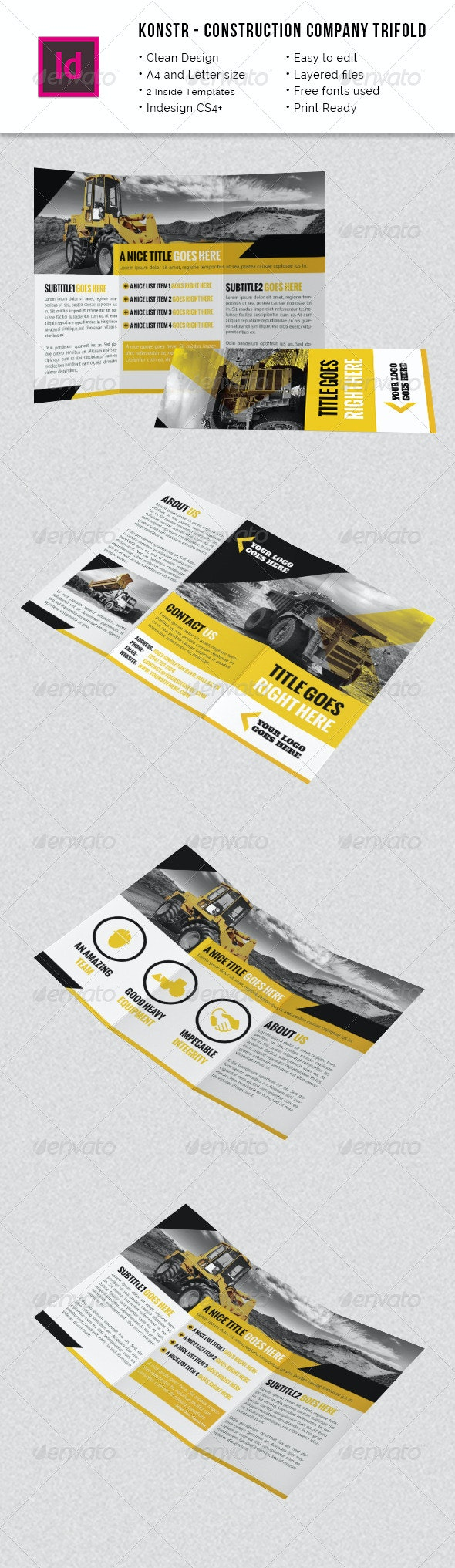 Construction Company A4 / Letter Trifold - Corporate Brochures