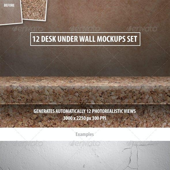 12 Desk Under Wall Mockups Set