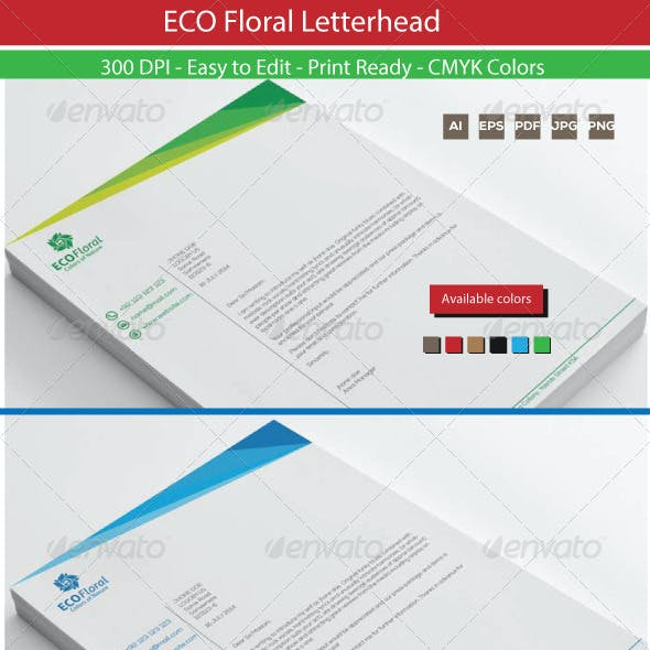 Eco Floral Graphics Letterhead