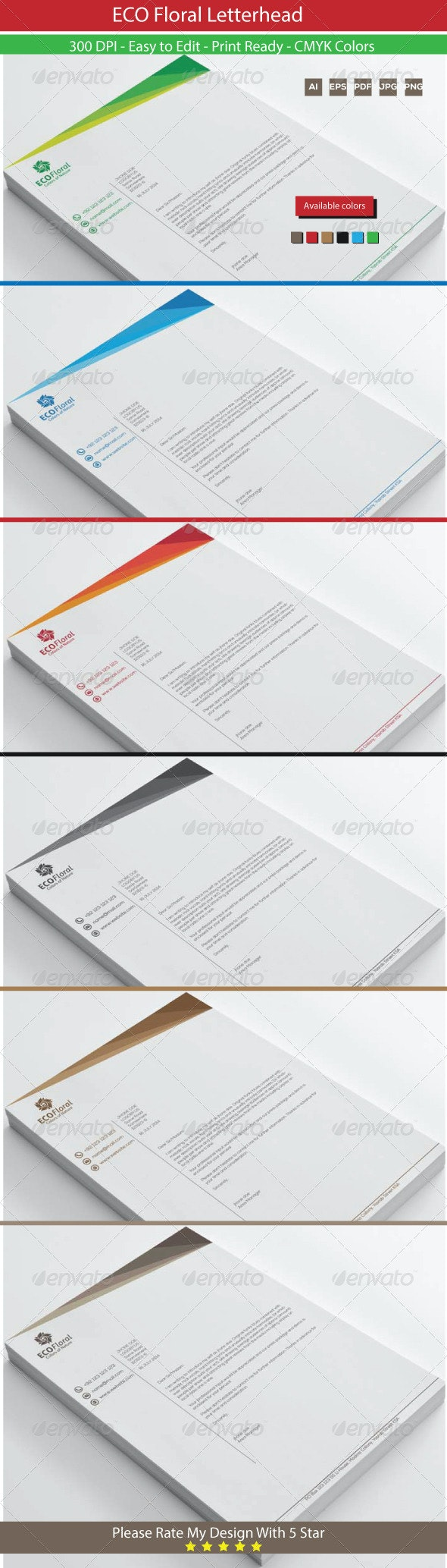 Eco Floral Graphics Letterhead - Stationery Print Templates