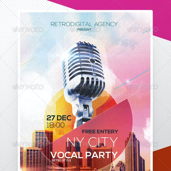 Retro Vocal Party Flyer Poster Template