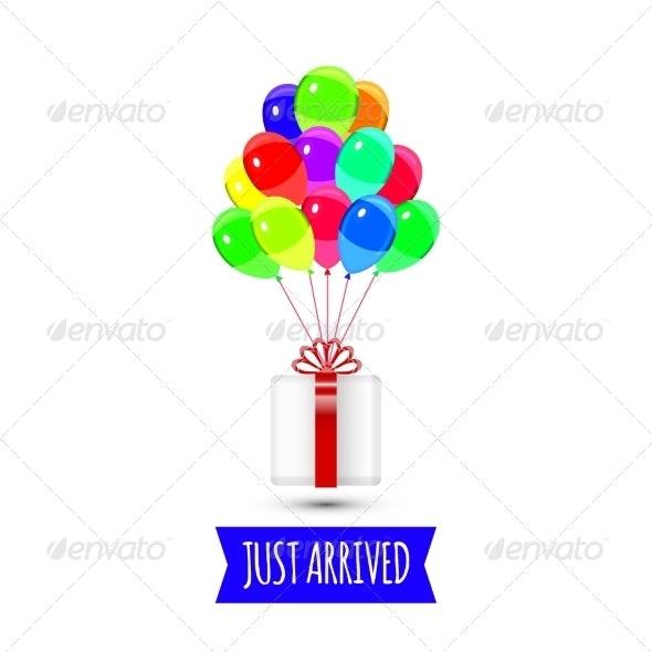 Multicolored Giftbox with Balloons - Birthdays Seasons/Holidays