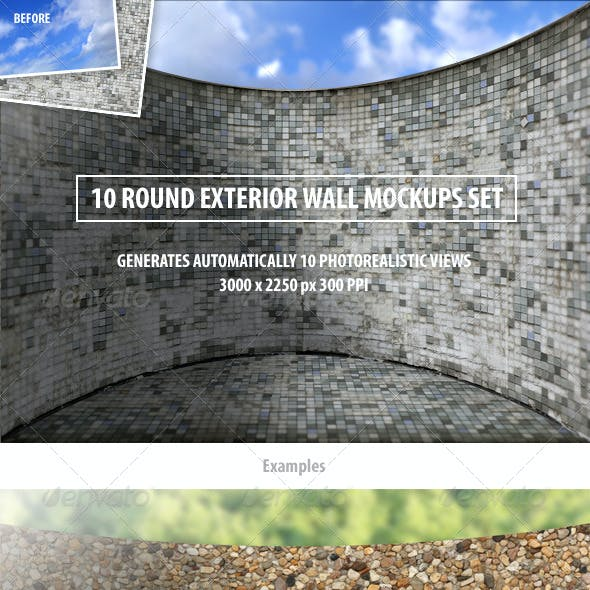 10 Round Exterior Wall Mockups Set