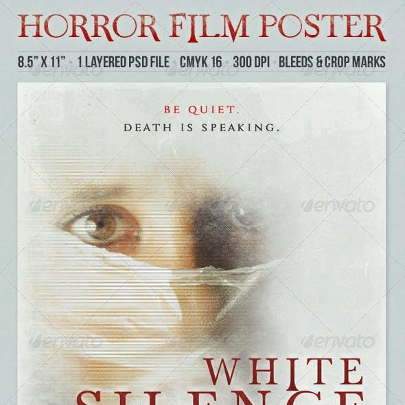 White Silence Grunge Style Horror Film Poster