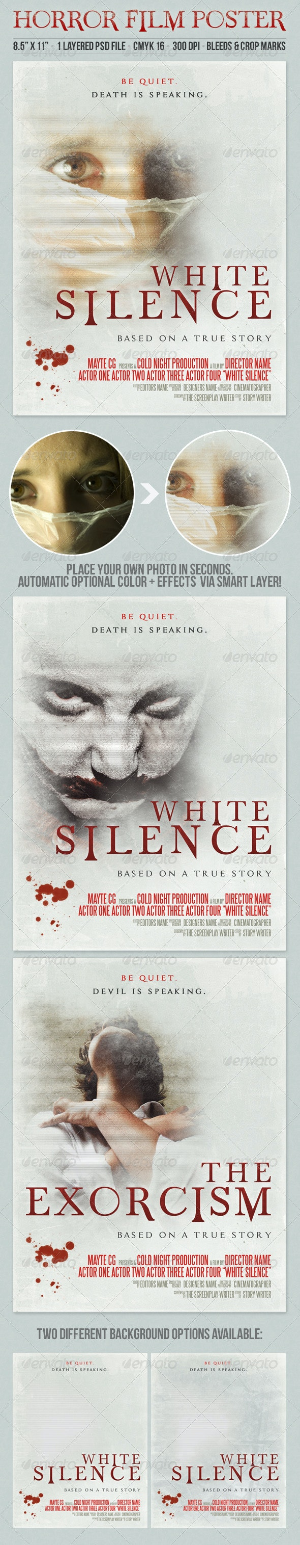White Silence Grunge Style Horror Film Poster - Miscellaneous Events